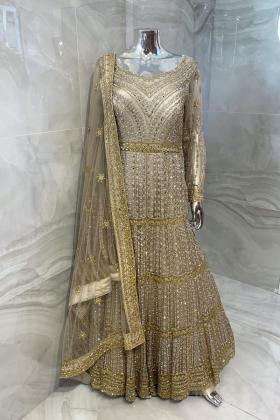 2 Piece luxury embroidered gown in beige
