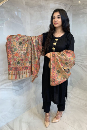 Light weight printed beige and green shawl