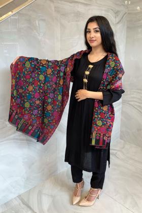 Light weight printed black multi shawl