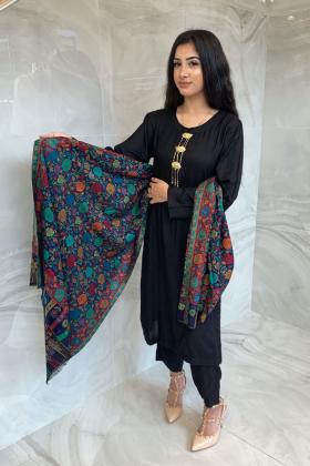 Light weight printed navy multi shawl