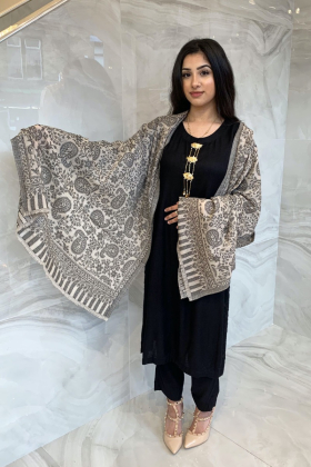 Light weight printed beige and black shawl