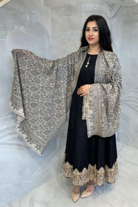 Light weight beige and black printed shawl