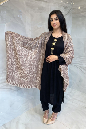 Light weight printed shawl in light brown