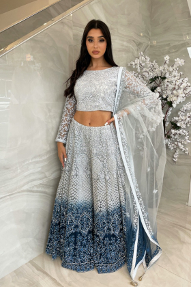 3 Piece luxury embroidered lengha choli in silver and blue