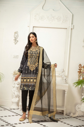 3 Piece linen casual black embroidered suit