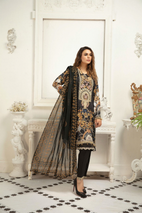 Black 3 piece casual linen embroidered suit
