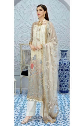 3 Piece white chiffon luxury embroidered suit