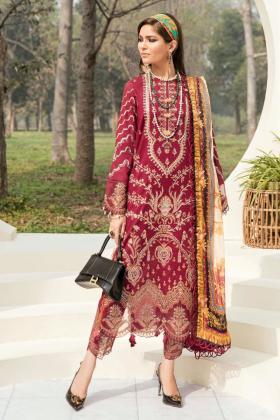 Afrozeh summer sonnet lawn scarlet dive 3 piece suit in maroon