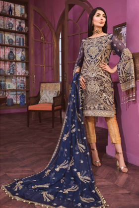 Navy 3 Piece chiffon embroidered suit