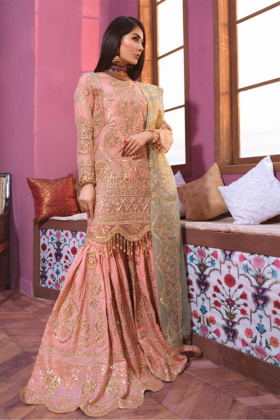 Beautiful 3 piece peach embroidered sharara suit