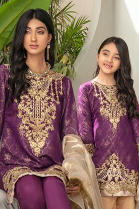 Zeenat collection kids 3 piece luxury embroidered suit in purple