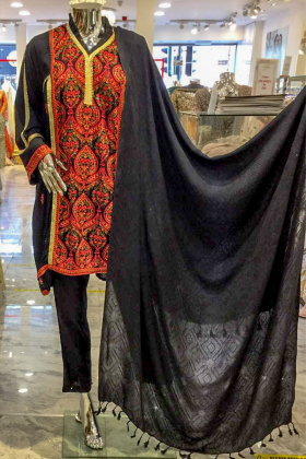 3 Piece black linen suit with multi coloured thread-work embroidery