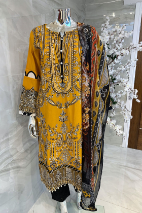 3 Piece luxury lawn embroidered suit in mustard