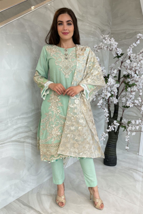 3 Piece luxury embroidered lawn mint suit