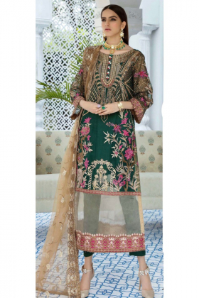 3 Piece chiffon green luxury embroidered suit
