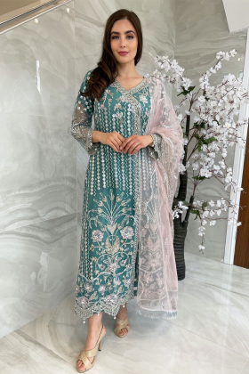 3 Piece luxury embroidered net suit in sky blue
