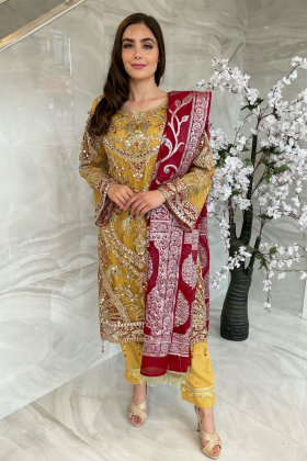 3 Piece luxury embroidered net suit in yellow