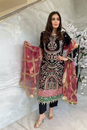 3 Piece chiffon luxury embroidered suit in black