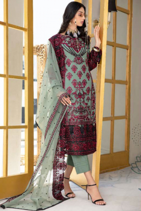 3 Piece luxury embroidered chiffon suit in green and maroon