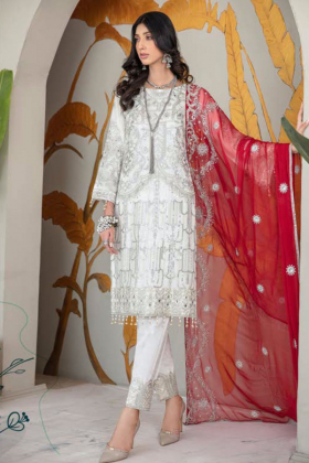 3 Piece luxury embroidered chiffon suit in white with a contrasted red dupatta