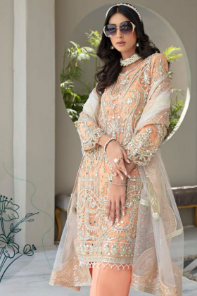 3 Piece luxury chiffon embroidered suit in peach