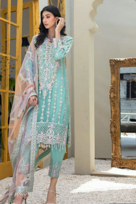 3 Piece luxury chiffon embroidered mint suit
