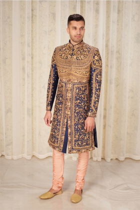 Men's luxury embroidered sherwani in blue