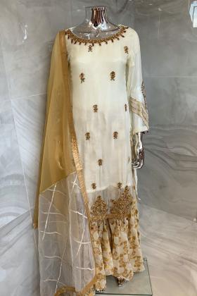 3 Piece luxury embroidered sharara shiffonz suit in cream