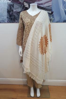 Wool cream shawl with gold flower patterns