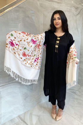 Light weight thread-work embroidered shawl in offwhite