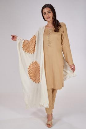Wool off white shawl gold flower patterns
