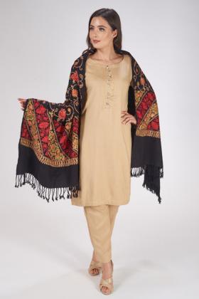 Wool black multi embroidered shawl