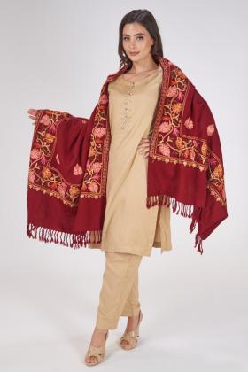 Thread-work embroidered maroon shawl
