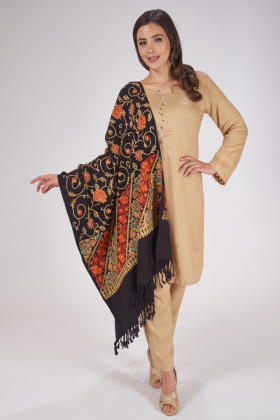 Black wool shawl with thread-work embroidered designs