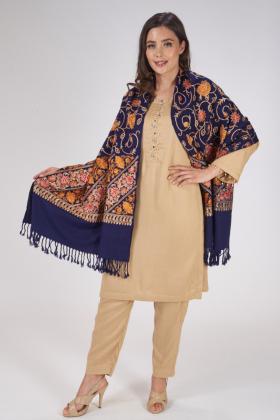 Navy thread-work embroidered wool shawl