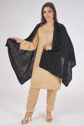 Black wool shawl