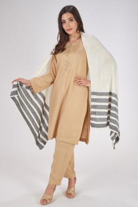 Cream and grey wool stripe shawl