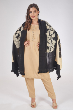Beige and black wool shawl with thread-work embroidery