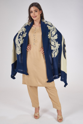 Blue and cream wool shawl with thread-work embroidery