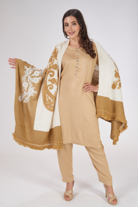 White multi wool shawl with thread-work embroidery