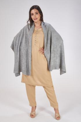 Grey wool shawl