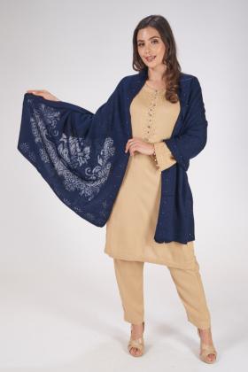 Navy wool shawl
