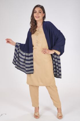 Navy and grey wool stripe shawl