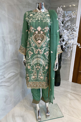 3 Piece chiffon embroidered green suit