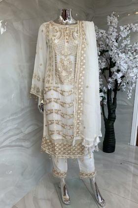 3 Piece shiffonz embroidered suit in white