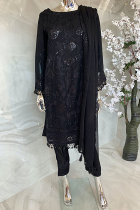 3 Piece shiffonz embroidered black suit