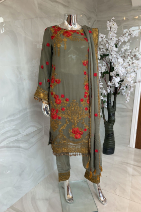 3 Piece shiffonz embroidered suit in khakhi