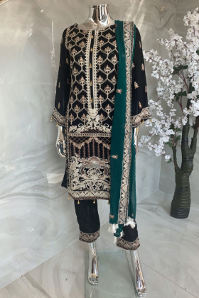 3 Piece shiffonz embroidered black and green suit