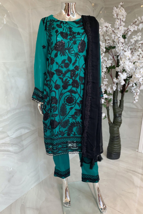 3 Piece shiffonz embroidered suit in green and black