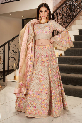 Beautiful 3 piece pink multi embroidered lengha suit